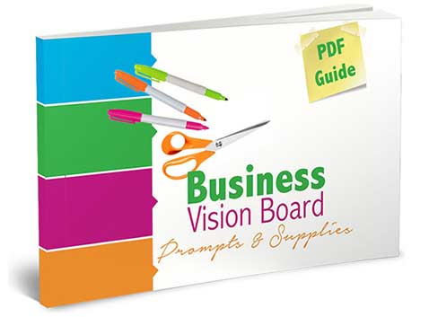 Business Vision Board prompts and supplies